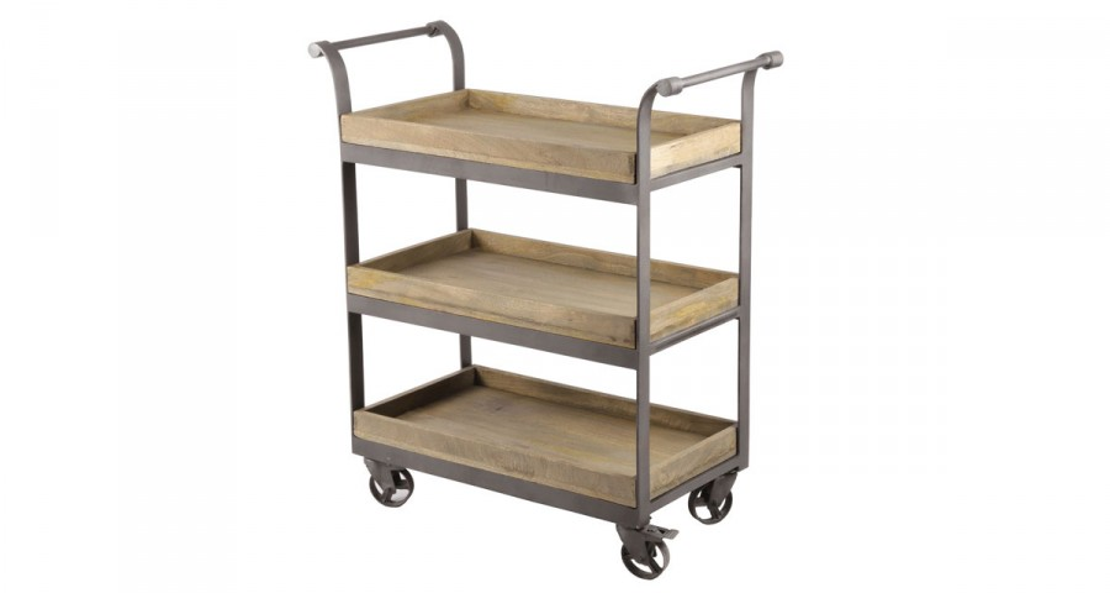 Chariot industriel en bois et métal Yamsay