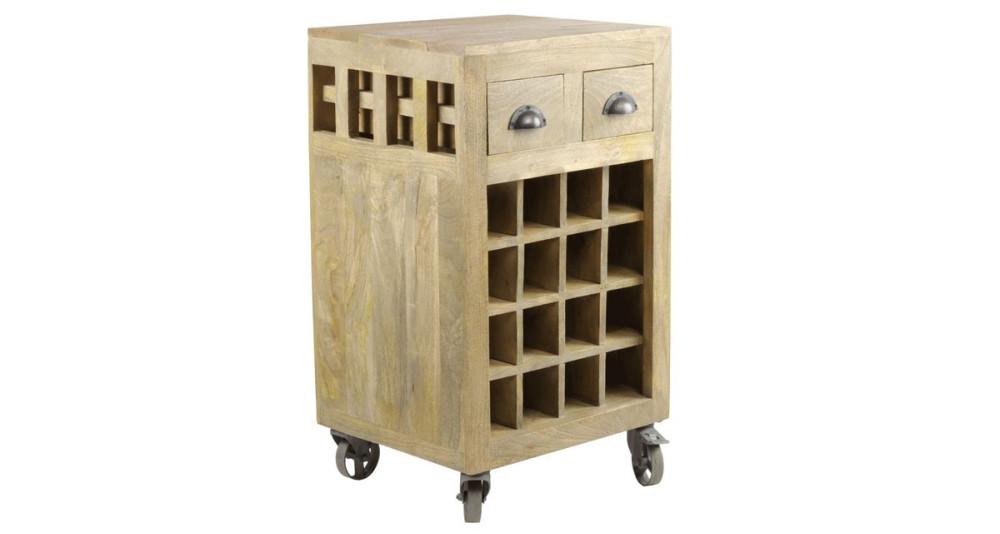 Meuble de bar en bois à roulettes Newquay