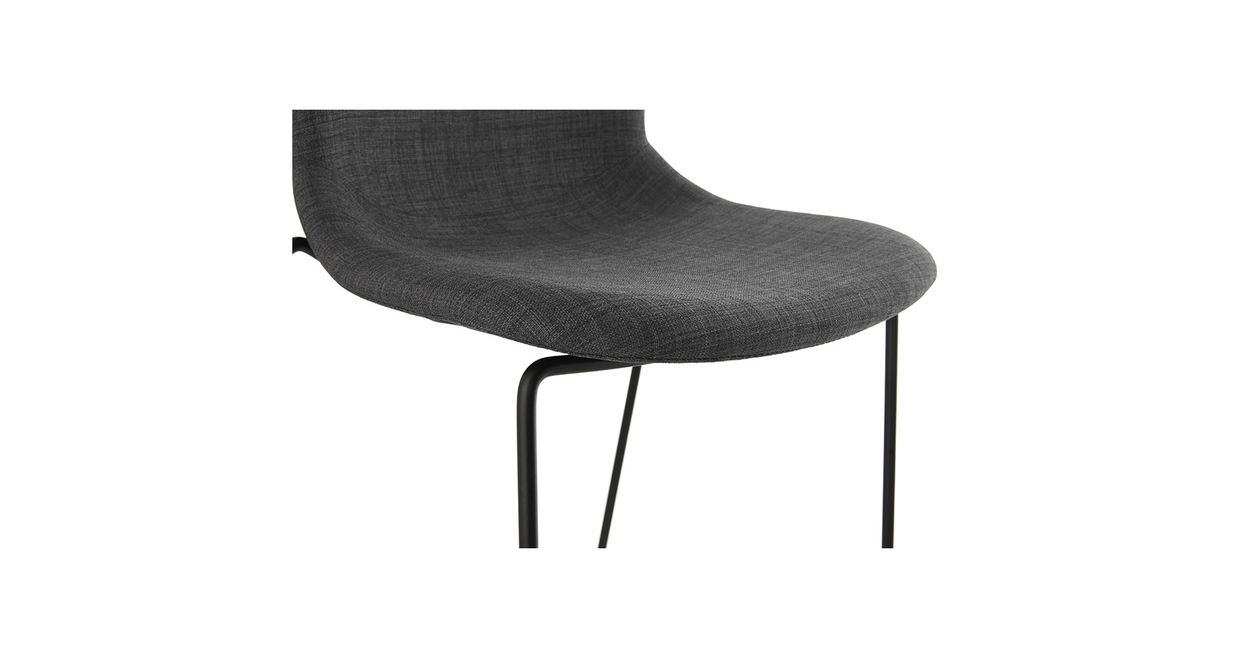 chaise de bar design en tissu gris fonc et m tal noir. Black Bedroom Furniture Sets. Home Design Ideas