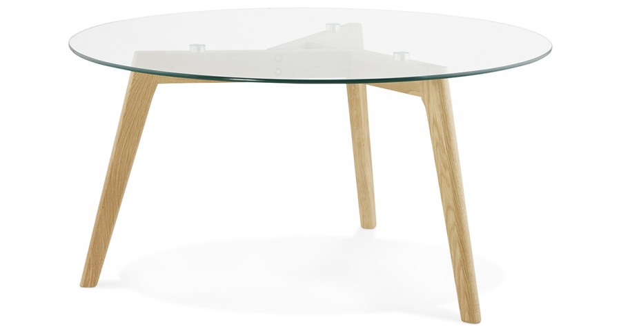 Table Basse Ronde En Verre Et Bois Design Scandinave Lazy
