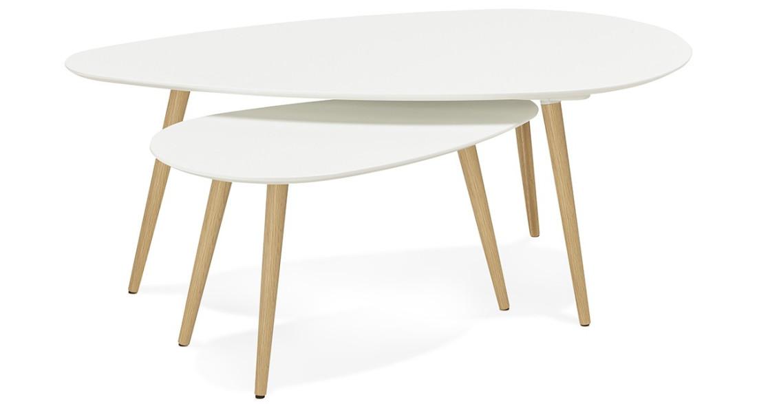 table basse gigogne blanche scandinave pieds en bois rebro. Black Bedroom Furniture Sets. Home Design Ideas