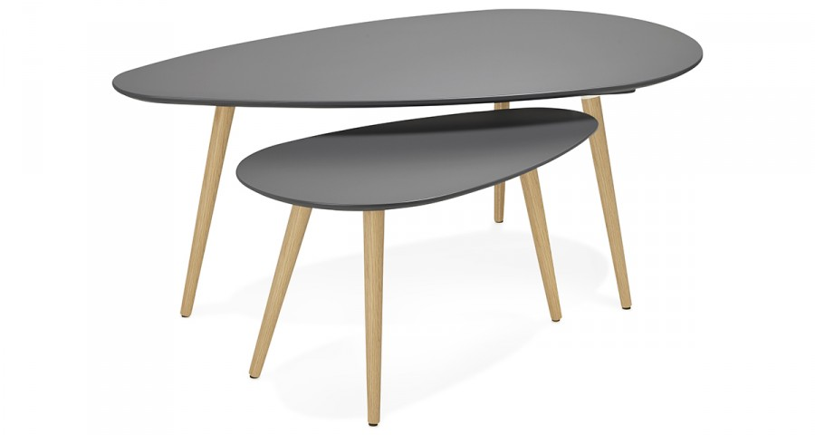 Table Basse Gigogne Scandinave Gris Anthracite Orebro