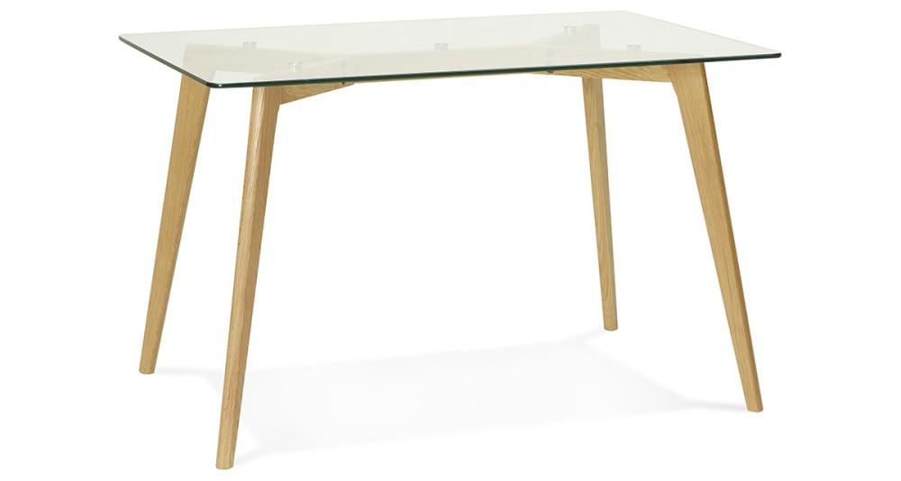 Table 120 x 80 cm plateau verre Nugy