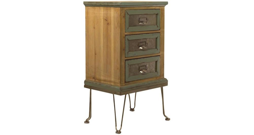 Chevet 3 tiroirs vintage en bois Hampton