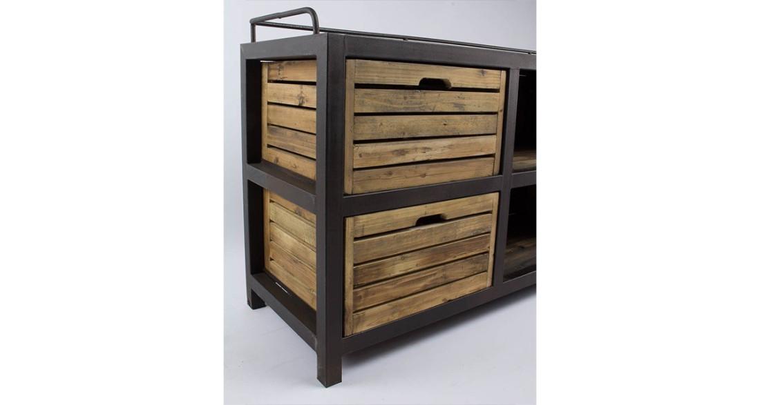 meuble tv industriel 4 casiers archibald. Black Bedroom Furniture Sets. Home Design Ideas