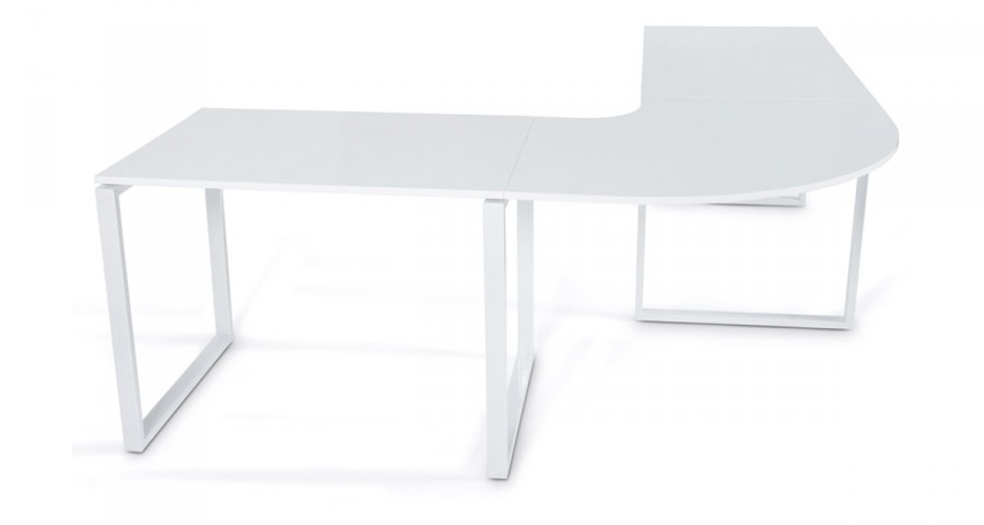 Bureau d'angle modulable en bois blanc Anchorage