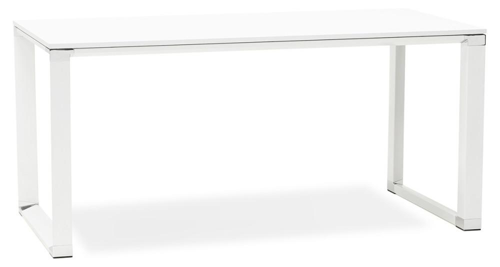 Bureau rectangulaire moderne en bois et métal blanc Kline