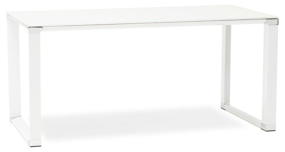 Bureau en verre blanc et bois Kline