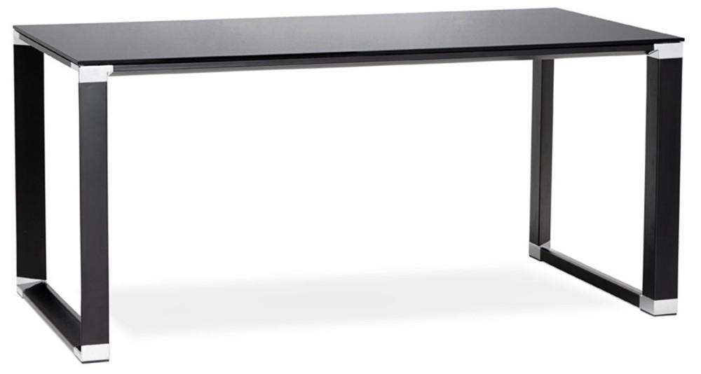 Bureau en verre teinté noir 160 cm Kline