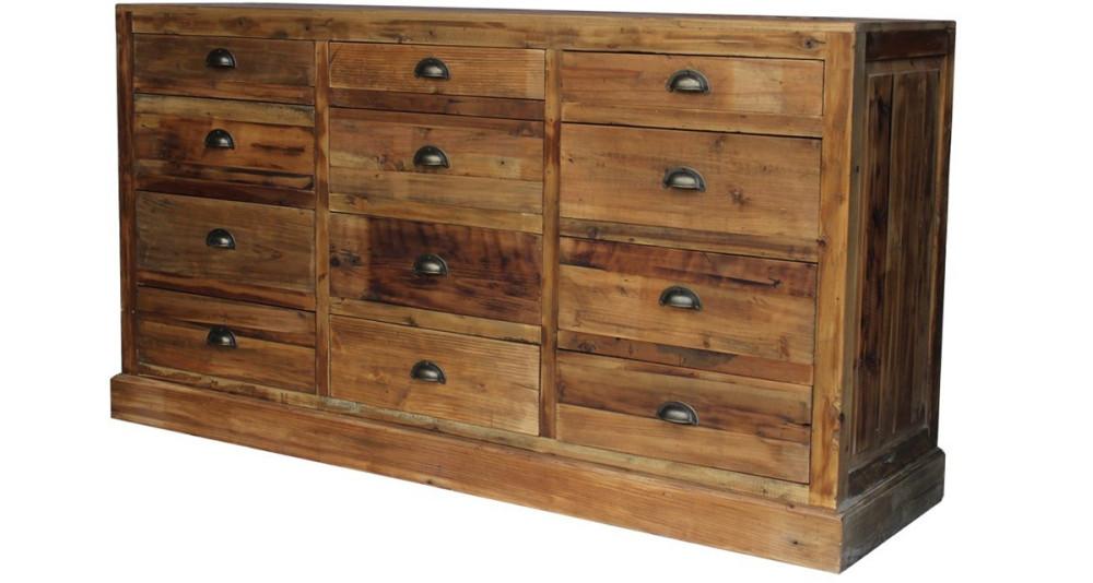 Buffet 12 tiroirs en bois recyclé Columbus