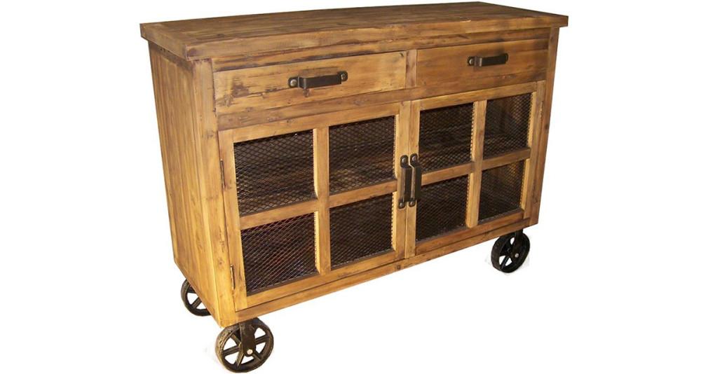 Buffet vieux bois à roulettes Huntshaw