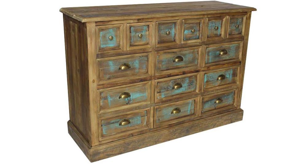 Chiffonnier 15 tiroirs en vieux bois Trestown