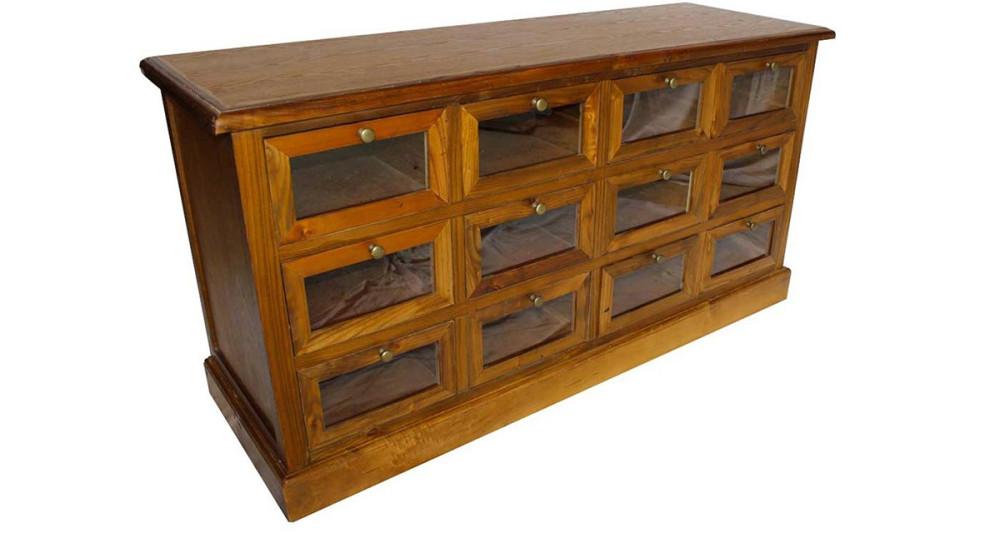 Chiffonnier 12 tiroirs en bois vieilli Sampford