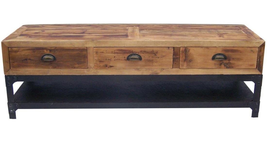 meuble tv industriel en fer et bois pismanta. Black Bedroom Furniture Sets. Home Design Ideas