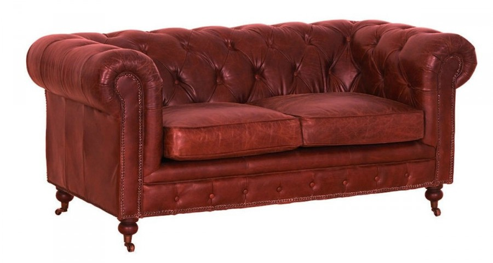 Canapé Chesterfield en cuir vintage rouge Yosemite