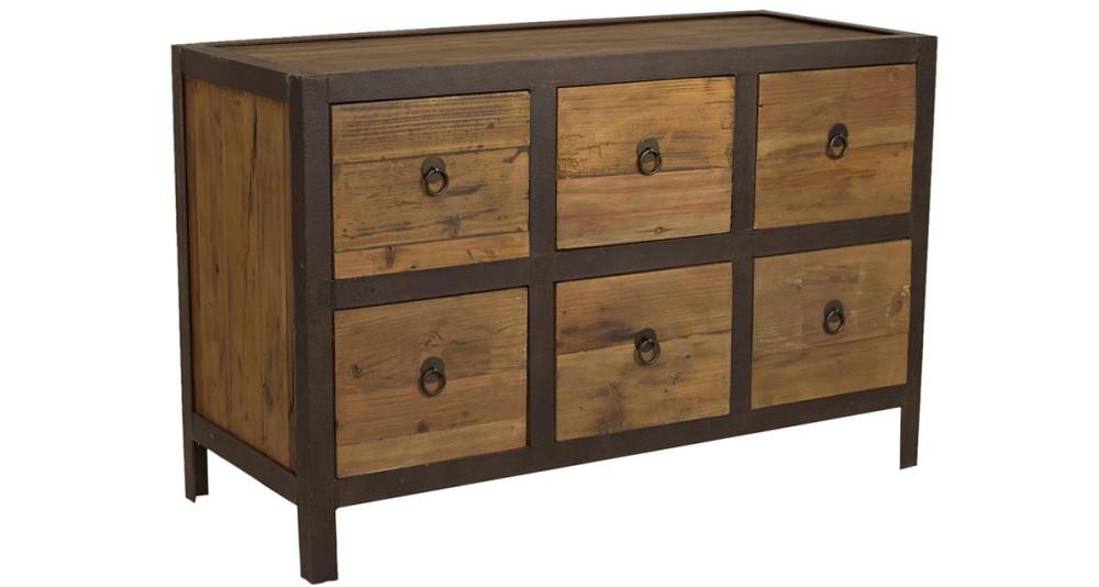 Commode 6 tiroirs industrielle bois et fer Pitter