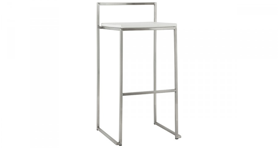 Tabouret de bar empilable blanc et chromé Nassau