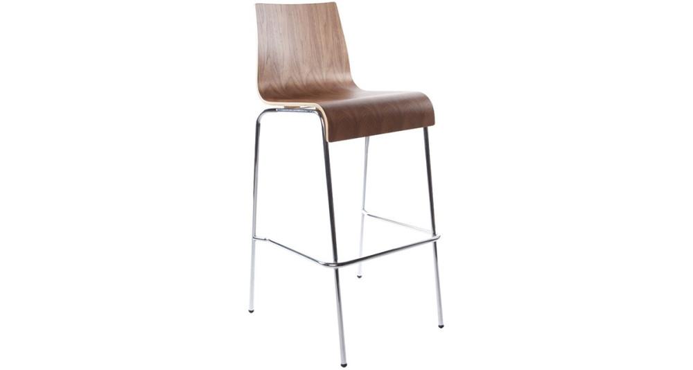 Chaise haute empilable en bois teinté noyer Jenny