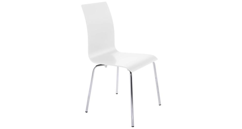 Chaise de salle à manger en bois blanc et piétement chromé Gabriel
