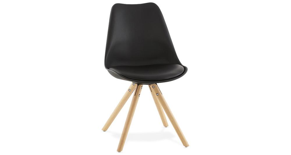 Chaise scandinave noire pieds bois Lou