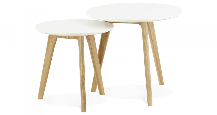 Tables Basses Gigognes Scandinaves Blanches Et Pieds Bois