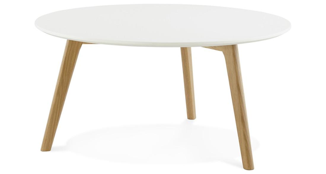 Table basse ronde diam tre 90 cm blanche design scandinave - Table ronde diametre 90 ...
