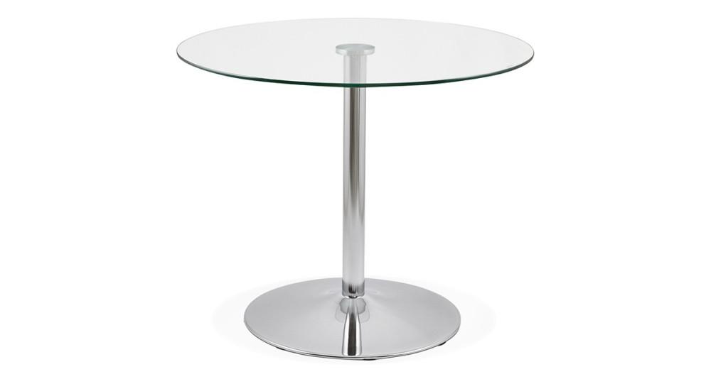 Table ronde verre et métal chromé diamètre 90 cm Adrienne