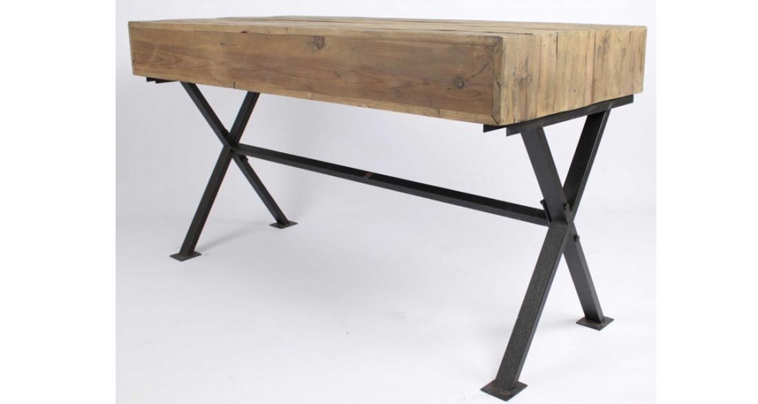 Bureau industriel en bois et fer penzance
