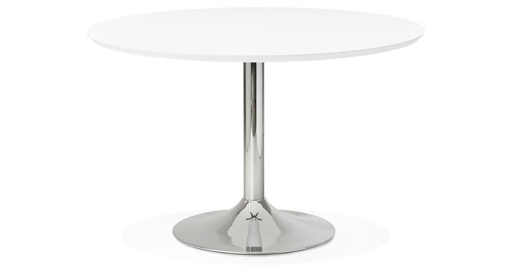 Table blanche et chromée diamètre 120 cm Laora