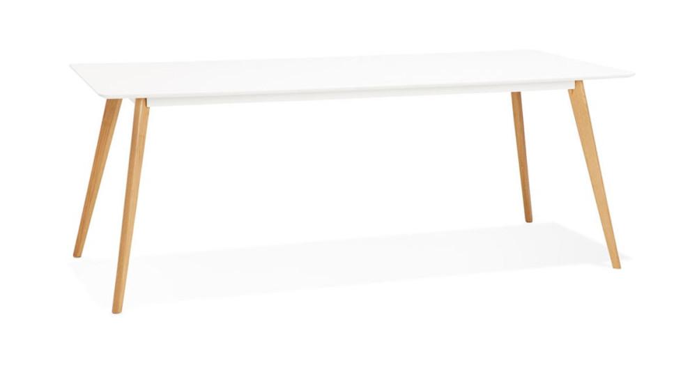 Table 200 x 90 cm blanche et pieds chêne Olivia