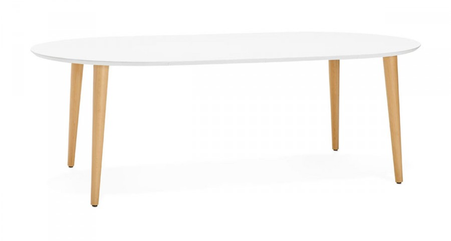 Table Ronde Extensible Scandinave.Table A Diner Ronde Extensible Blanche Au Design Scandinave Myriam