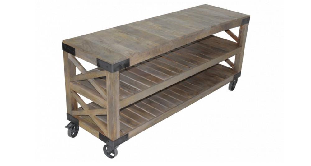 Grande console en bois sur roulettes Dunkeld