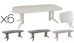 6 x Table Vega 165 ou 220 cm - 4 coloris