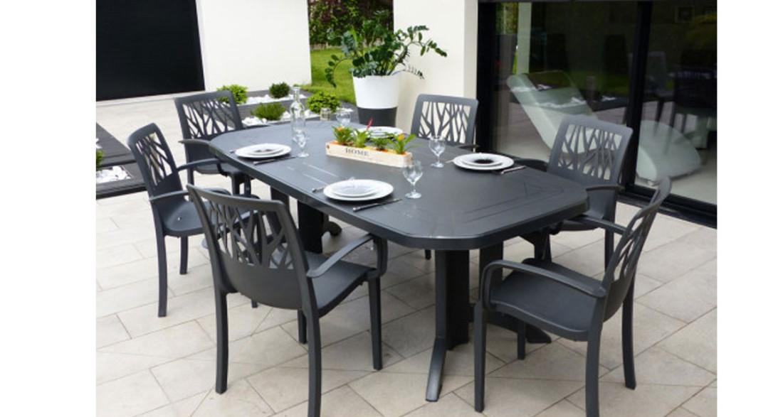 Lot 6 tables de jardin extensibles 165 à 220 cm Vega Grosfillex