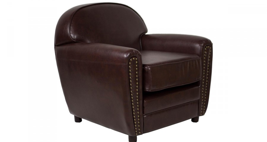 fauteuil club en cuir marron vintage avec accoudoirs clout s sykes. Black Bedroom Furniture Sets. Home Design Ideas