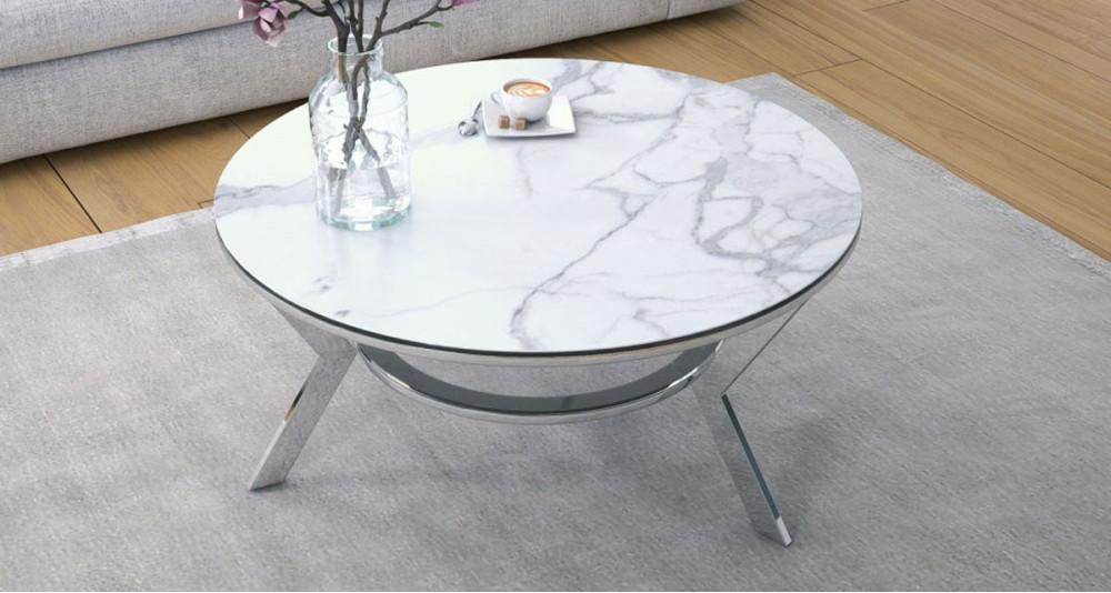 Table basse ronde avec plateau marbre mat diamètre 90 cm Yorkton
