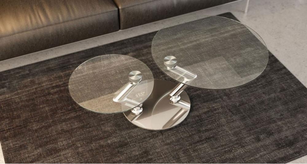 Table basse à double plateau rond pivotant en verre Olympia