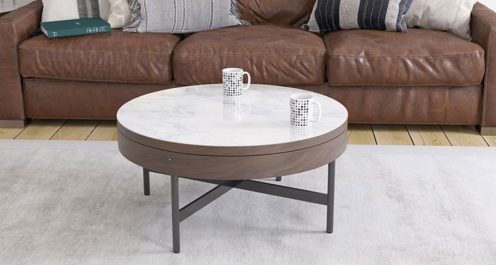 nouvelles photos 332f1 5c488 Table basse ronde en bois teinté noyer et plateau céramique Carracloe