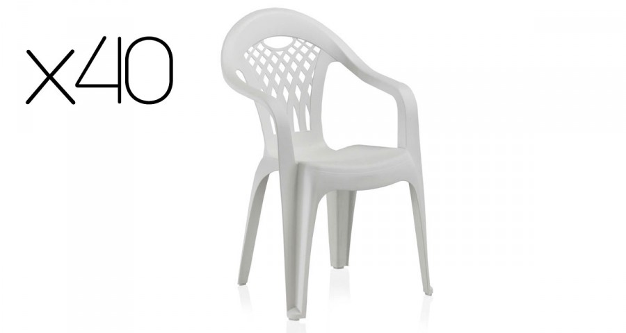 Lot 40 chaises jardin empilables blanches Cancun