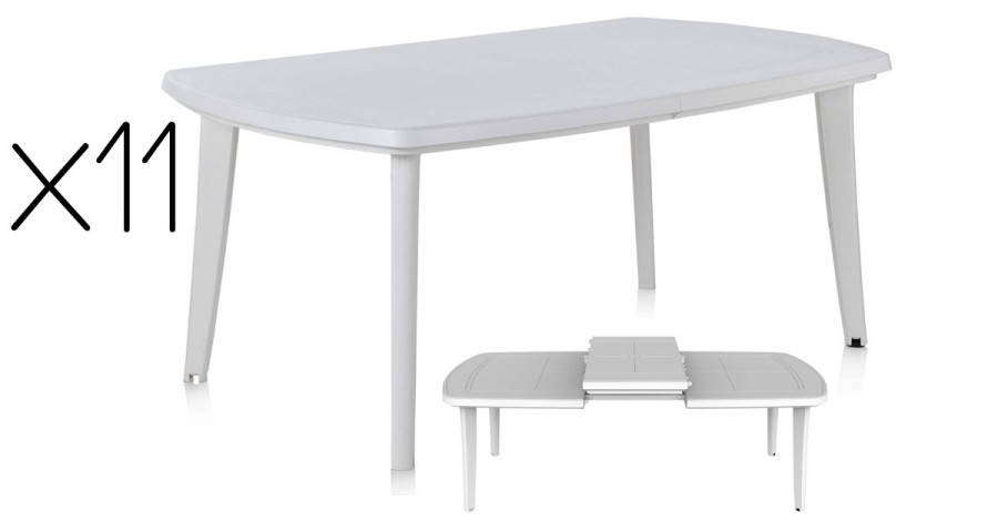 Lot 11 tables jardin extensibles blanches Atlantic