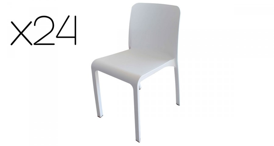 Lot 24 chaises blanches empilables Grana