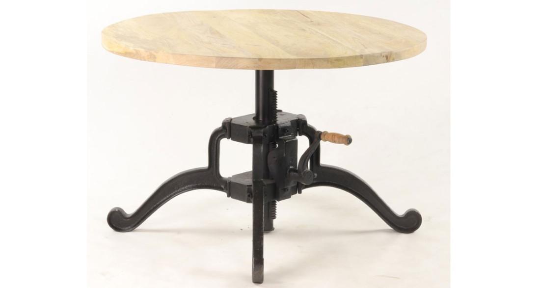Table basse industrielle ronde à hauteur réglable en bois et ...