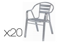 Lot 20 chaises empilables en aluminium Mafra
