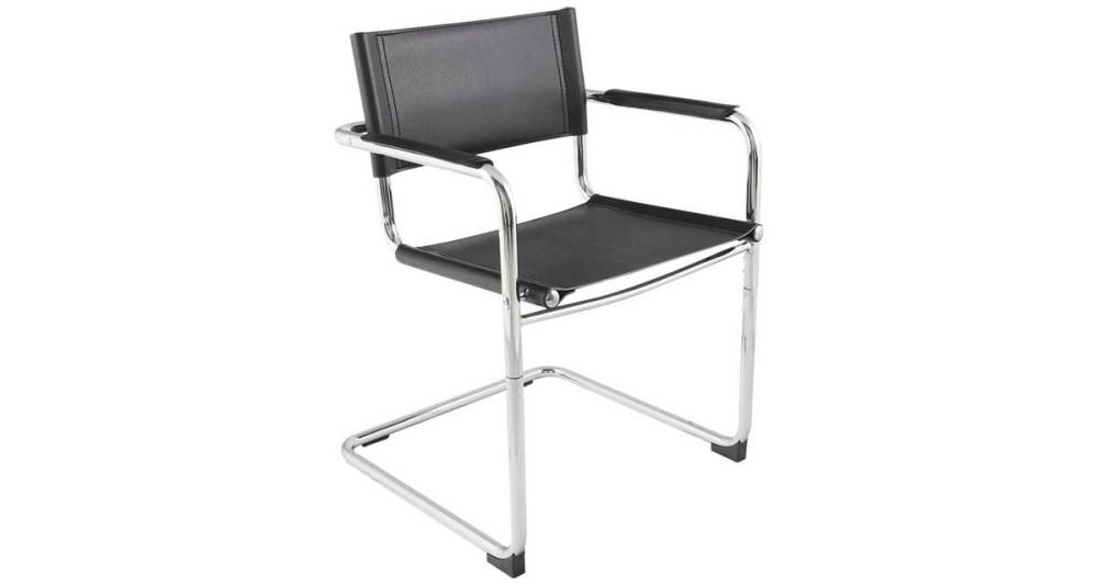 Chaise daccueil pour bureau en similicuir noir meredith