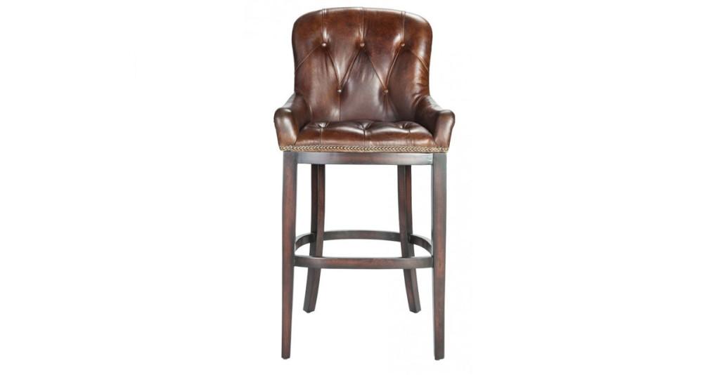 Chaise de bar cuir pleine fleur chocolat Pillsbury