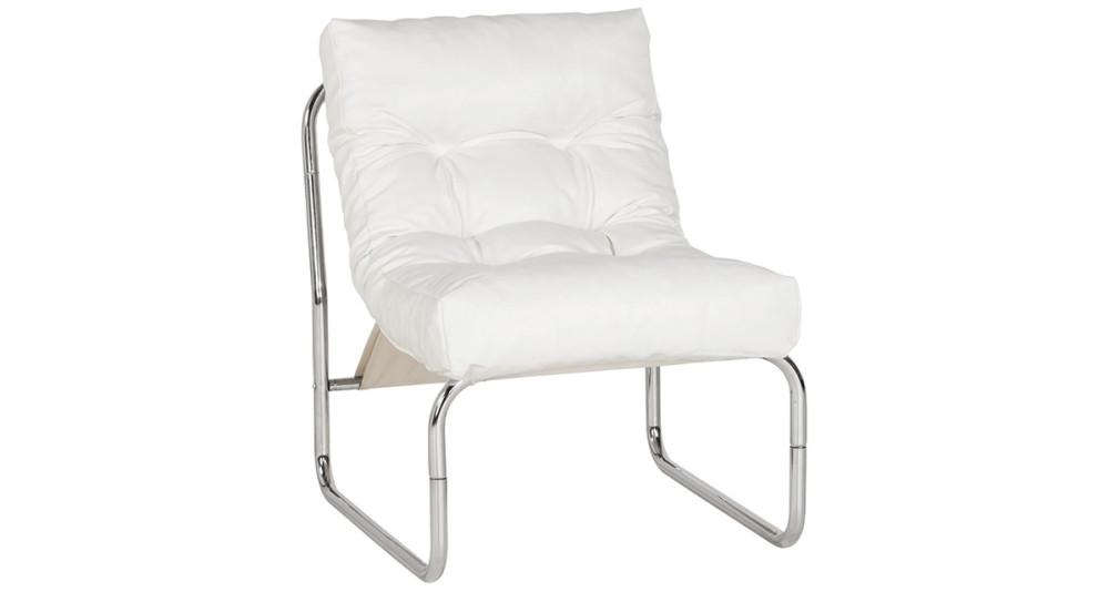 Fauteuil relax en similicuir blanc Bertille