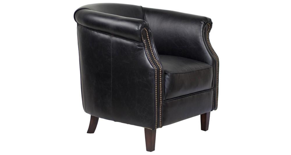 Fauteuil club oxford en cuir noir Paisley