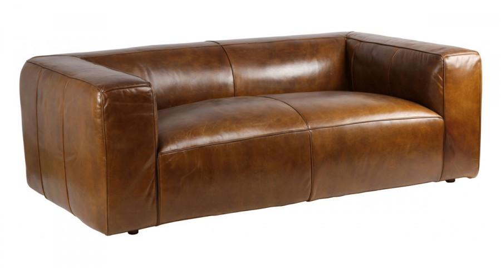 Canapé cosy en cuir pleine fleur Terre Neuve