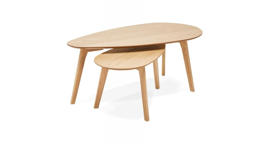 Tables basses gigognes bois naturel Kramfors