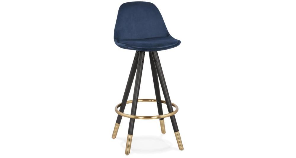 Chaise mi haute velours bleu scandinave Toronto